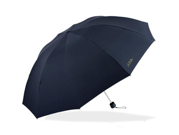 天堂伞 黑胶加大加固三折晴雨伞(颜色随机发)