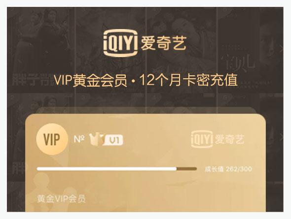 爱奇艺VIP黄金会员,12个月 卡密充值